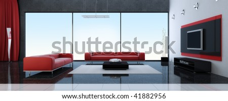 Modern interior of a drawing room with red sofas - stock photo