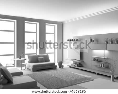 Modern interior of a living room  3D - stock photo