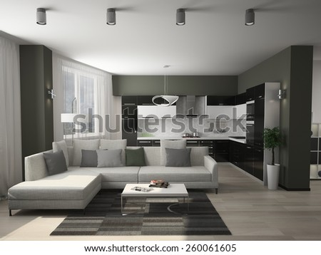Modern interior of a living room  3D rendering