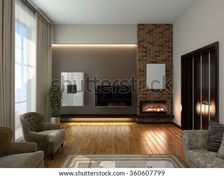 Modern interior of a living room  3D rendering - stock photo