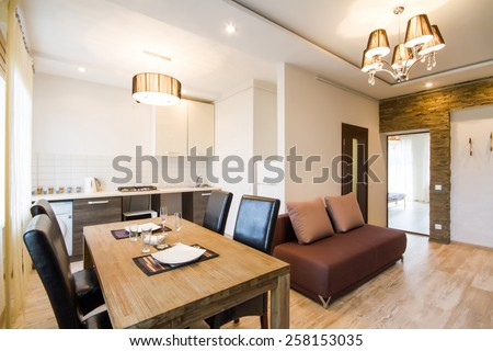 Modern interior of a living room studio - stock photo