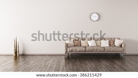 Modern interior of a living room with beige sofa and cushions 3d render - stock photo