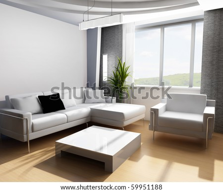 Modern interior of a room - stock photo