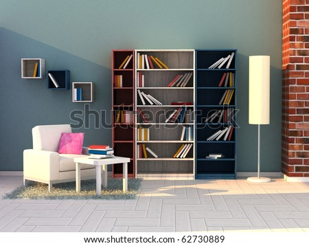 Modern Interior of a Study room - stock photo