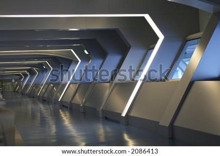 modern interior of airport, Porto, Portugal - stock photo