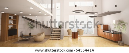 Modern interior of apartment panorama living room kitchen 3d render - stock photo