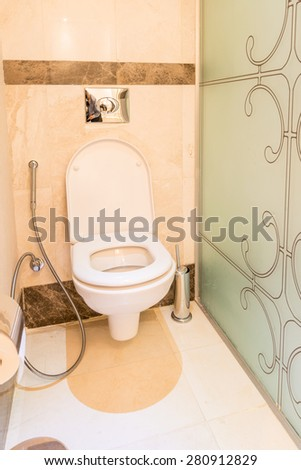 Modern interior of bathroom and toilet - stock photo
