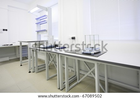 modern interior of biological laboratoratory in research center - stock photo