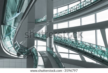 modern interior of business centre 3d render - stock photo