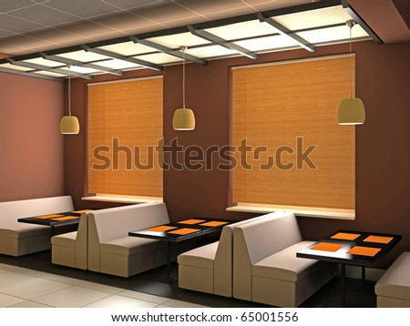 Modern interior of cafe 3D - stock photo