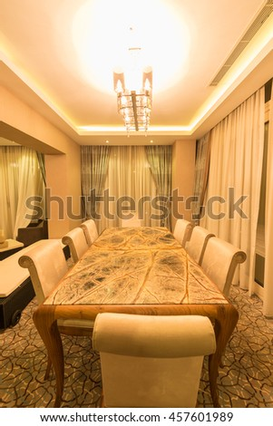 Modern interior of dining room