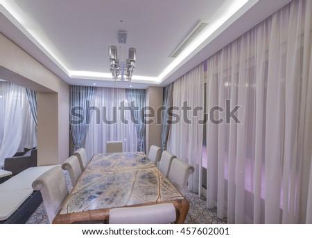 Modern interior of dining room - stock photo