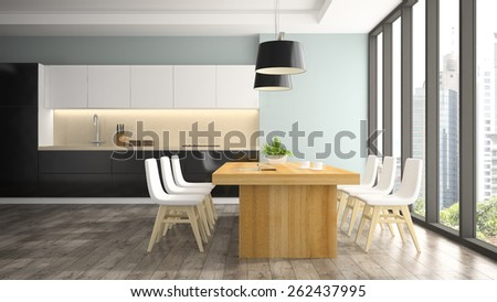 Modern interior of dining room with white chairs 3D rendering  - stock photo