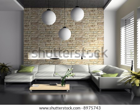Modern interior of drawing-room 3D rendering - stock photo