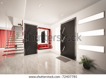 Modern interior of entrance hall with staircase 3d render - stock photo