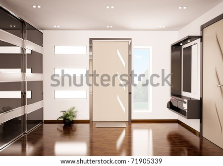 Modern interior of hall 3d render - stock photo