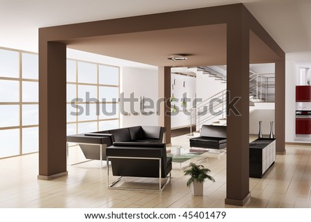 Modern Interior of hall with sofa and armchairs 3d