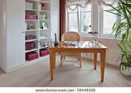 Modern interior of home office - stock photo