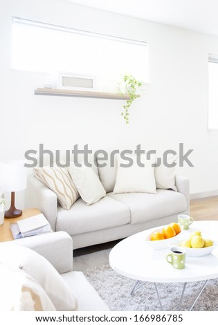 modern interior of living room and table - stock photo