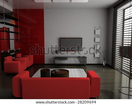 modern interior of living room 3D