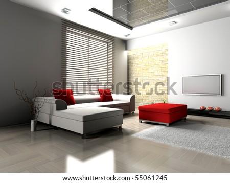 modern interior of living room 3D - stock photo