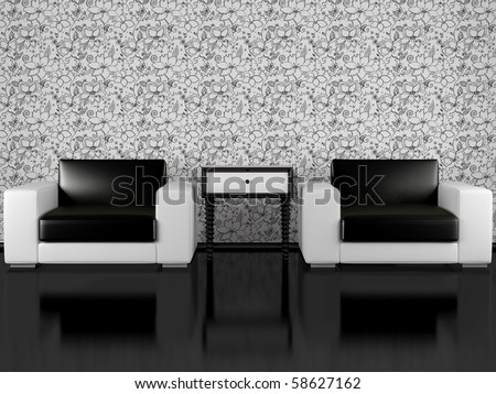 modern interior of living room, modern armchairs with bedside table in black and white living room with floral wallpaper, render/illustration - stock photo