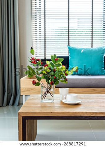 Modern interior of Living room still life with flower vase and sofa background