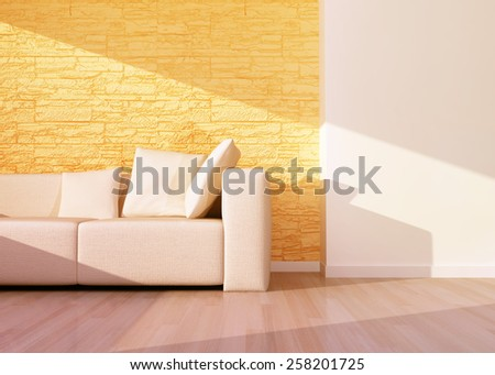 Modern interior of living room with beige sofa.  3D rendering - stock photo