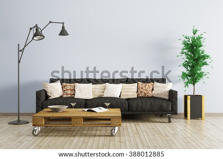 Modern interior of living room with black sofa, floor lamp and coffee table 3d render - stock photo