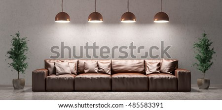 Modern Interior Of Living Room With Brown Leather Sofa And Lamps Against Of  Concrete Wall On