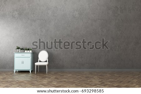 Modern Interior Of Living Room With Chair And Wooden Cabinet.  3d Rendering Part 75