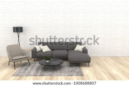 Modern Interior Of Living Room With Dark Grey Sofa Beige Armchairbrown Wooden Floor