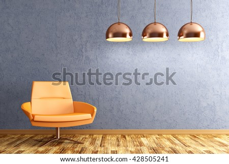 Modern interior of living room with orange armchair and copper lamps over blue wall 3d rendering - stock photo