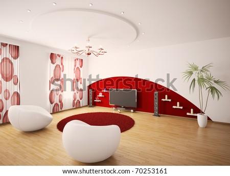 Modern interior of living room with two armchairs and LCD 3d render - stock photo