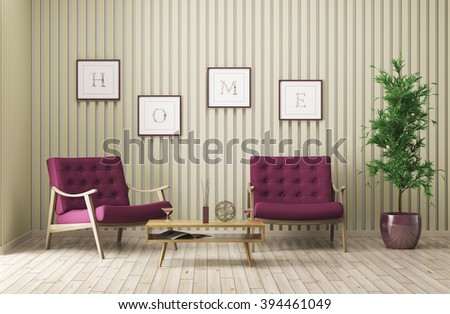 Modern interior of living room with two armchairs, coffee table and plant 3d render - stock photo