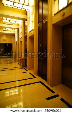 Modern interior of luxury hotel, corridor and lift - stock photo