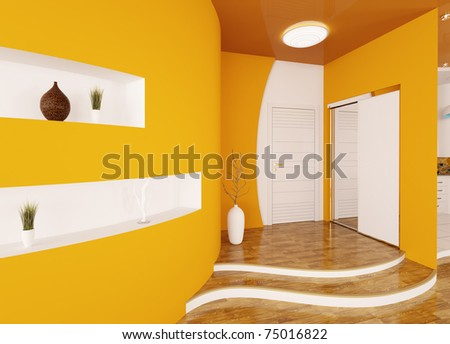 Modern interior of orange entrance hall 3d render - stock photo