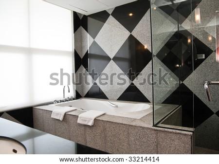 Modern interior of resort's bathroom - stock photo