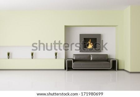 Modern interior of room with fireplace and sofa 3d render - stock photo