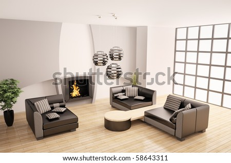 Modern interior of room with fireplace 3d render - stock photo