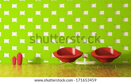 Modern interior of room with red armchairs 3d render
