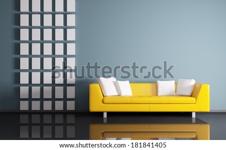 Modern interior of room with yellow sofa 3d render - stock photo