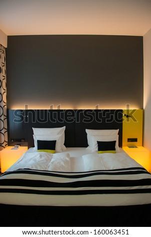 Modern interior of the bedroom - stock photo