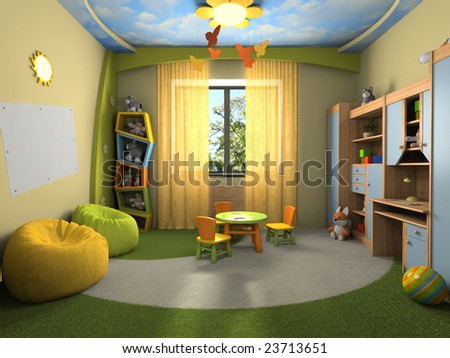 Modern interior of the childroom 3D rendering - stock photo