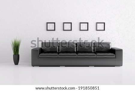 Modern interior of white room with black sofa 3d render - stock photo