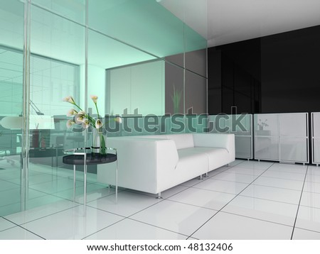 modern interior office place for rest 3d image - stock photo