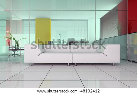 modern interior office place for rest 3d image