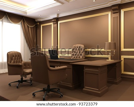 Modern interior. Office space. Wooden furniture in Luxurious apartment. Business table with armchairs. Work place near big window. - stock photo