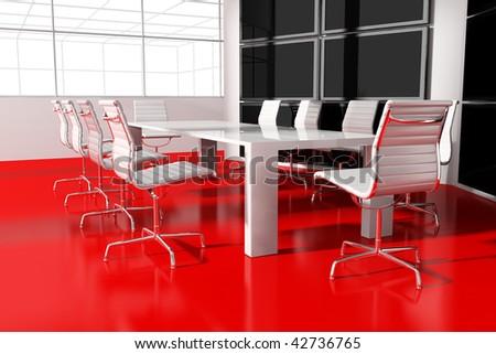 Modern interior room for meetings 3d render - stock photo
