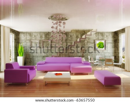 modern interior room in violet color - stock photo